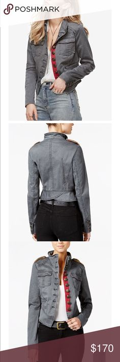 Free People shrunken military jacket Grey. NWOT. never worn. Free People Jackets & Coats Utility Jackets
