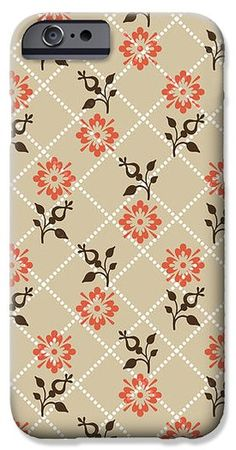 Orange Floral Pattern iPhone Case by Christina Rollo