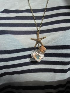 Beach in a Bottle Necklace with Real Starfish, Sea Glass, Shells, and Sand - from the beach of 30A - Handmade by WhimsyByKrista, $28.00      Seaside, Rosemary Beach, Alys Beach, Seagrove, Watercolor, 30-A