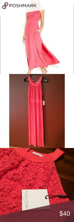 Calvin Klein Coral Maxi Dress NWT Gorgeous coral color Calvin Klein maxi dress. Never worn. Calvin Klein Dresses Maxi