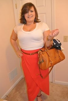 This is a different outfit than my previous posts. This is a more casual outfit than my work related outfits. Today, I wore a red maxi skirt with a unique hem line that draw the eye to the complimentary red wedge with black accents. I completed this look with a plain white tee and a belt to emphasis the waist line. I topped it off with my daily Dooney & Bourke satchel and colorful earrings