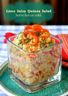 This delicious quinoa salad is bursting with fresh healthy flavor & can be served warm as a side dish or cold as lunch salad. Makes a great picnic item too.