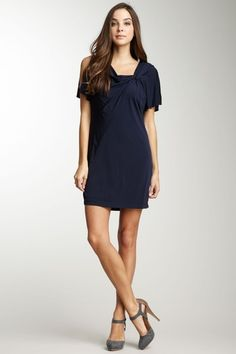 Muse Split Sleeve Knot Dress in Navy blue