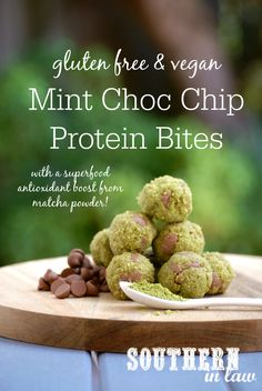 This Mint Chocolate Chip Protein Bites Recipe is packed full of nutrition and health benefits thanks to healthy ingredients like matcha powder! Not only that, they are also high protein, gluten free, sugar free, egg free, grain free, paleo, vegan, clean eating friendly and there are nut free options too!