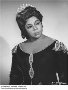 Soprano Martina Arroyo (born 1937) sang for 13 seasons in 199 performances at the Met from 1965-1978. Arroyo made her debut in Pizzetti's MURDER IN THE CATHEDRAL at Carnegie Hall (1958) & was the 1st black singer ever to portray Elsa in Wagner's LOHENGRIN (1968). A recipient of the National Endowment for the Arts Opera Honors Award & an OPERA NEWS Award (both 2010), Arroyo was appointed by President Ford to the National Council of the Arts & founded the Martina Arroyo Foundation.
