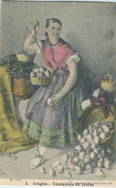 ARAGON. BATURRA VENDEDORA DE FRUTAS. M.YUS. AÑO 1884. COLOREADA A MANO. (Postales - España - Aragón Antigua (hasta 1939) - Zaragoza)