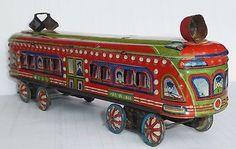 RARE LITHO TIN TOY TRAIN TRAM PASSENGER CAR 2396 JAPAN 1930's PRE WAR