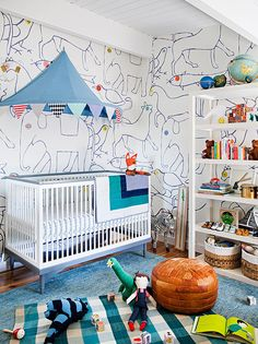We love the colorful but modern circus theme in this nursery
