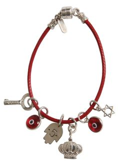 Unisex Israeli Handmade Red Kabbalah Leather Bracelet with 6 Silver Charms by Yoyo32 - Customizable & Made per Order
