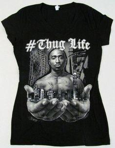 99aac564c 2PAC V-Neck T-shirt Rap Tupac Shakur #THUG LIFE Tee Womens JUNIORS