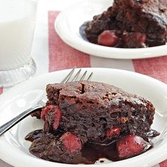Chocolate-Cherry Pudding Cake ;As the cake bakes, it separates into two layers, a tender chocolate spongelike cake and a rich chocolate-cherry sauce.