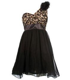 Leopard Print Floral Corsage Chiffon Dress