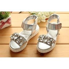 Silver Patent Leather Flower Pageant Party Girl Kids Sandals Shoes  SKU-133137