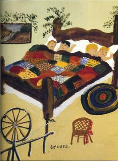 Waiting For Christmas - Grandma Moses /this reminds me of my childhood and my own Grandma's quilts. Grandma Moses, Henri Rousseau, Illustrations, Illustration Art, Pop Art, Art Brut, Arte Popular, Naive Art, Outsider Art