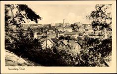 Postcard Sonneberg Thüringen, Aussicht auf den Ort, Aussicht vom Hügel