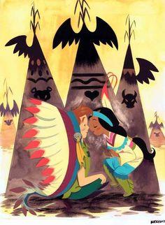 Peter Pan and Tiger Lily cartoon illustration via www.Facebook.com/DisneylandForMisfits