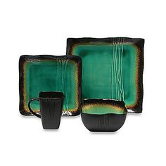 The shades of green and brown lend a beautiful ethereal feel to this stoneware dinnerware, while the bold, square shapes of the pieces add some modern flair. Microwave safe for reheating.