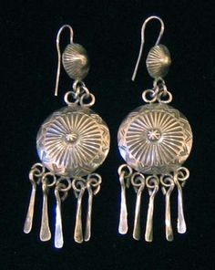 Silver Navajo Earrings with Dangles - Old Pawn Jewelry