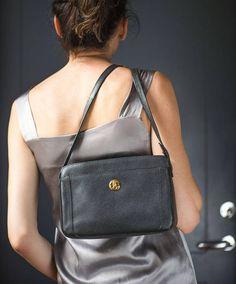 Black Pourchet Paris Shoulder Bag. Minimalist High fashion