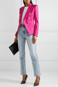 Balmain   Double-breasted wool-twill blazer   NET-A-PORTER.COM Balmain Blazer Outfits, Denim Outfit, Pink Blazer Outfits, Look Blazer, Casual Outfits, Fashion Outfits, All Black Outfit, Looks Style, Blazers For Women