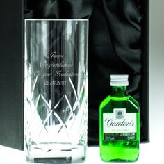 Engraved Crystal Glass and Gin Gift Set