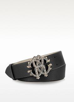 Roberto Cavalli Black Leather Signature Belt