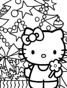 Hello Kitty And Christmas Trees Which Are Garnished With Star Coloring Pages