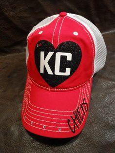 I heart KC Chiefs Red Trucker Hat by BlingirlSpirit on Etsy Sassy 33ddbeba7