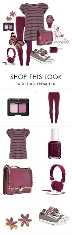 """purple"" by katie-sopkova ❤ liked on Polyvore featuring NARS Cosmetics, Dorothy Perkins, Essie, Valentino, Nicole Miller, Coach, Converse, Oozoo and studded converse"