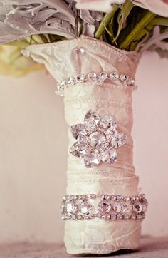 Add some bling to your wedding bouquet handle.