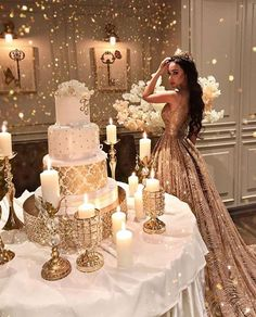 What do you think of wearing a gold wedding dress? So much inspo in this photo!