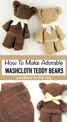 How To Make Washcloth Teddy Bear Video Tutorial You will love to learn how to make a washcloth teddy bear and it makes the perfect baby shower gift. Be sure to watch the video tutorial too. Teddy Bear Cookies, Diy Teddy Bear, Teddy Bear Baby Shower, Teddy Bears, Shower Baby, Teddy Bear Themes, Bear Baby Showers, Baby Shower Ideas Gifts, Teddy Bear Crafts