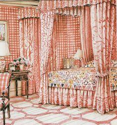 Mark Hampton watercolor of Lee Radziwell Master bedroom at Turville Grange