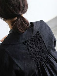 (smocking to take in width) Back smocking jacket long