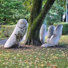 My, what big hands you have. __________ #notmyphoto #garden #sculpture #clever