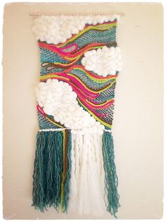 My AMAZINGLY talented friend made this BEAUTIFUL PIECE :) Bright Sky Wall Hanging Fiber Art and Weaving by LoopsAndStone
