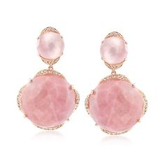 Pink Opal and .26 ct. t.w. Diamond Drop Earrings in 14kt Rose Gold