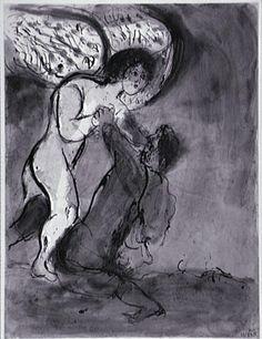 Marc Chagall (1887 - 1985) La lutte de Jacob avec l'ange 1950 - 1952 Encre, lavis, aquarelle sur papier vélin 63,4 x 48,1 cm. Centre Pompidou