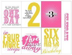 Birthday countdown printables