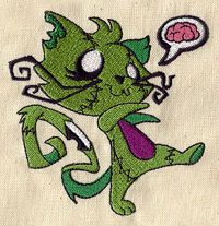 """Zombie Kitty design (UT3419) from UrbanThreads.com 3.78""""w x 3.86""""h 20 May 2013"""