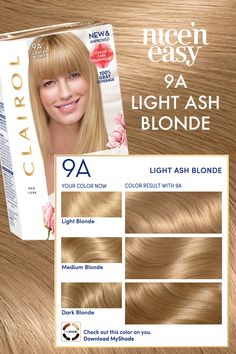 Go blonde in your own home! Get this look with Clairol Nice' n Easy in the shade Light Ash Blonde. Shop now at CVS Beauty 💛 Light Ash Blonde, Dark Blonde, Blonde Color, At Home Hair Color, Cool Hair Color, Hair Colour, Hair Color Shades, Shades Of Blonde, Hair Color Swatches