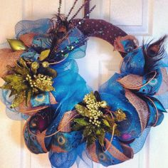 Turquoise & Brown Fall Peacock Wreath
