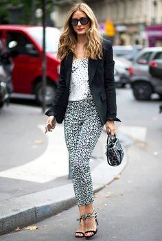 Stylish sunglasses and mini handbag are Trending at Fall Winter 2014 Paris Haute Couture Fashion Week Street Style. Olivia Palermo carrying a grey leopard pattern mini handbag during FW 2014 couture fashion week.