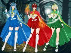 Umi, Hikaru, and Fuu from Magic Knight Rayearth