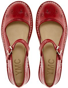 YMC Red Mary Jane Flat Shoes. THESE MIGHT BE MY FAVORITE.