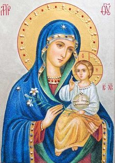 An icon of Mother of God the Unfading Bloom made of natural gemstones. A kiot (icon case) is included in the cost of this icon