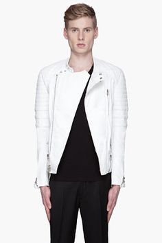 3.1 Phillip Lim White Leather Padded And Belted Biker Jacket for men | SSENSE