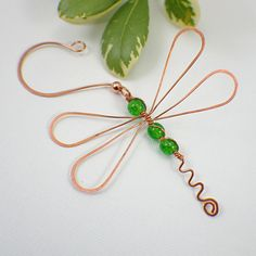 Wire dragonfly ornament copper & beads choose your color