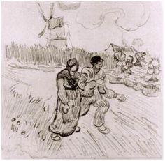 Vincent van Gogh Pareja cogidos del brazo y otras figuras, con un molino de…
