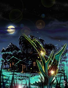 Luciernagas or Nimitas. In the Dominican country side, it is believed by some superstitious people, that fireflies are the spirits of long departed loved ones, who come to watch and guide the steps and dreams of their living ones.  by Artist-Illustrator Ray Wu